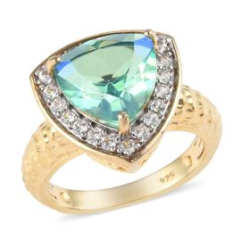 3.40 Ct Peacock Quartz and Natural Cambodian Zircon Halo Ring in 14K Gold Plated Sterling Silver