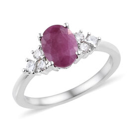ILIANA 18K White Gold AAA Burmese Ruby (Ovl), (SI/G-H) Diamond Ring 2.200 Ct.