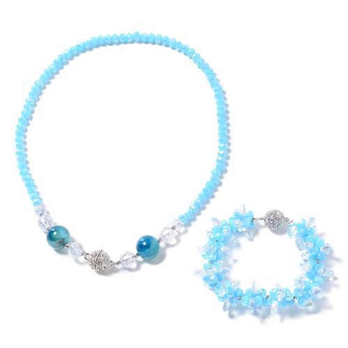 Set of 2- Blue Agate, Simulated Sky Blue Topaz, Simulated Diamond, White Austrain Crystal and Multi Colour Beads Necklace (Size 18) and Bracelet (Size 8)