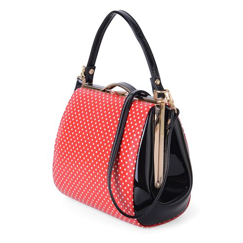 Red and White Colour Dots Pattern Tote Bag with Shoulder Strap (Size 25x19x11 Cm)