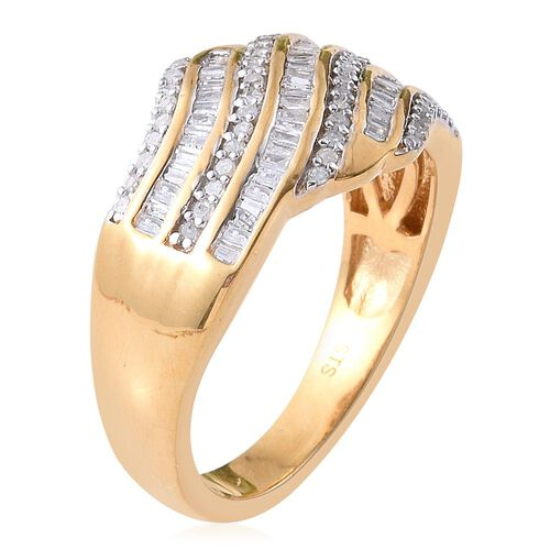 Diamond (Bgt) Ring in 14K Gold Overlay Sterling Silver 0.750 Ct.