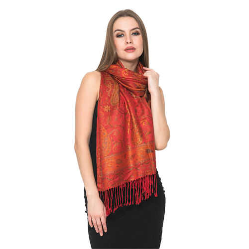 100% Superfine Silk Red and Green Colour Paisley Pattern Orange Colour Jacquard Jamawar Scarf with F