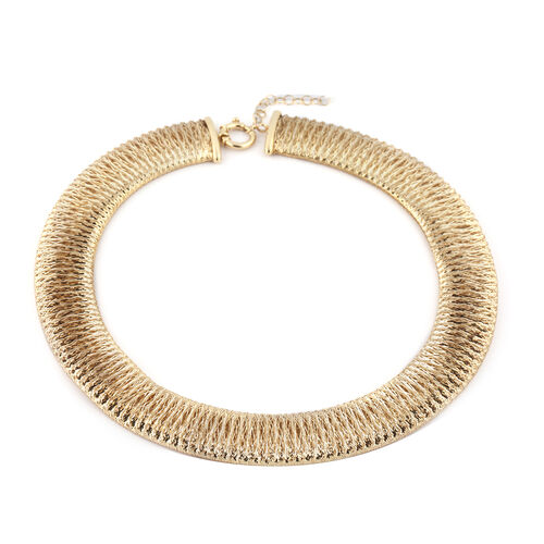 Made in Italy 9K Yellow Gold Domed Omega Necklace (Size 18 with 2 inch extender) Gold wt. 22.24 Gms