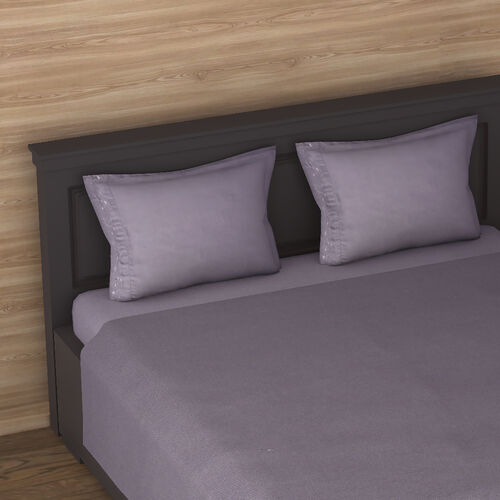 4 Piece Set : Solid Microfibre Sheet Set including Flat Sheet (230x265cm), Fitted Sheet (140x190+30cm) and 2 Embroidered Pillow Cases (50x75cm) - Dark Grey - Double