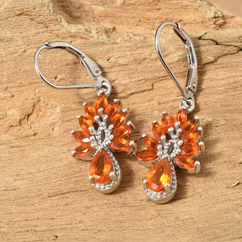 WEBEX- Jalisco Fire Opal (Pear) Water Drop Earrings (with Lever Back) in Platinum Overlay Sterling Silver 1.500  Ct.