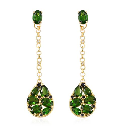 GP Russian Diopside (Ovl), Madagascar Blue Sapphire, Boi Ploi Black Spinel and Natural White Cambodian Zircon Dangle Earrings (with Push Back) in Yellow Gold Overlay Sterling Silver 7.340 Ct.