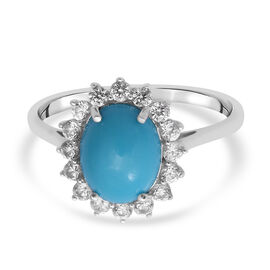 Arizona Sleeping Beauty Turquoise and Natural Cambodian Zircon  Ring in Rhodium Overlay Sterling Sil