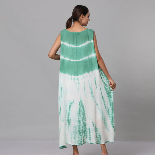 Tie & Dye Umbrella Dress in Green and White (Size upto 18)