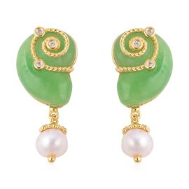 21.82 Ct Green Jade and Multi Gemstone Drop Earrings in Gold Plated Silver