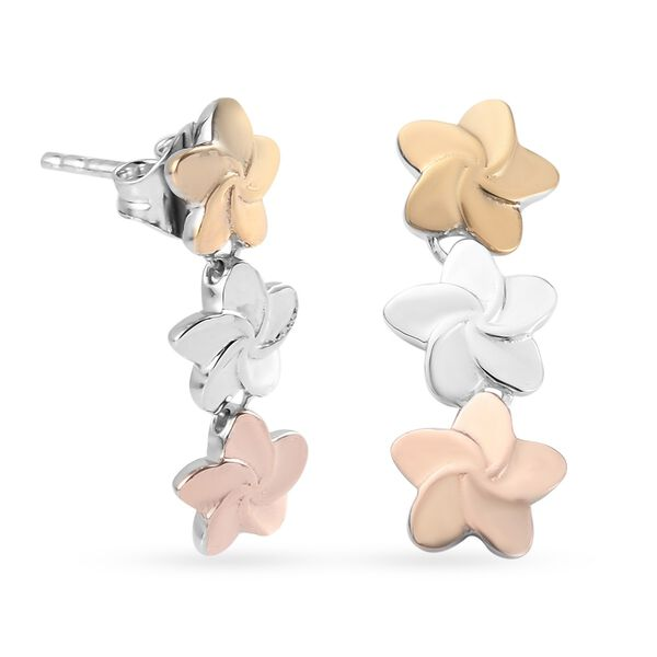 Yellow Gold, Rose Gold and Platinum Overlay Sterling Silver Flower Earrings (with Push Back), Silver wt 2.90 Gms.