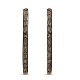 Champagne Diamond Hoop Earrings in Rose Gold Overlay Sterling Silver 0.25 Ct.