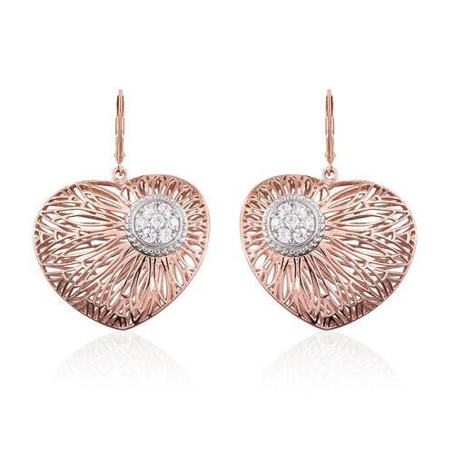 J Francis- Made with SWAROVSKI ZIRCONIA Heart Lever Back Earrings in Rose Gold Plated Silver 12.96 grams