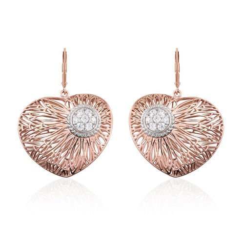 J Francis - Rose Gold Overlay Sterling Silver Heart Lever Back Earrings Made with SWAROVSKI ZIRCONIA, Silver wt 12.96 Gms.