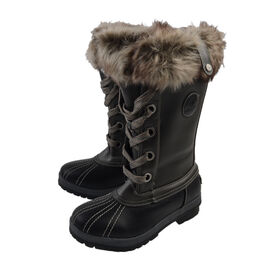 Faux Fur Lined Snow Boots - Grey