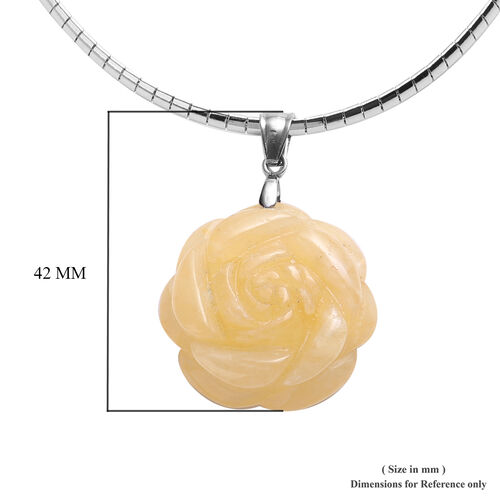 Yellow Jade Necklace (Size 18 with 2 inch Extender) and Flower Pendant in Stainless Steel 50.00 Ct.
