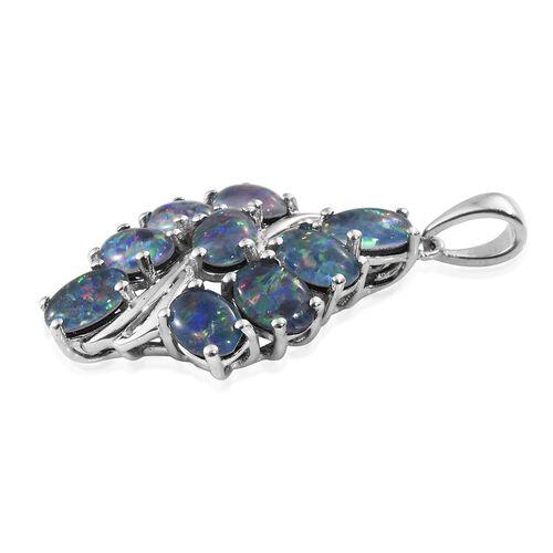 Australian Boulder Opal (Ovl) Pendant in Platinum Overlay Sterling Silver