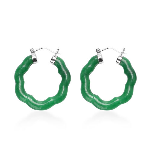 Green Jade Earrings (with Clasp) in Rhodium Overlay Sterling Silver 38.50 Ct.