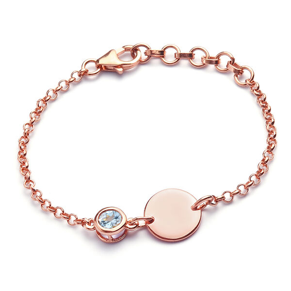 Espirito Santo Aquamarine Bracelet (Size 6 with Extender) in Rose Gold Overlay Sterling Silver