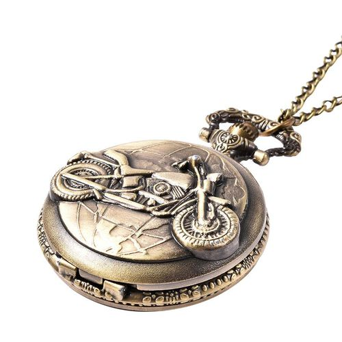 STRADA Japanese Movement Motorcycle Pattern Pocket Watch with Chain (Size 31) in Antique Bronze Plated