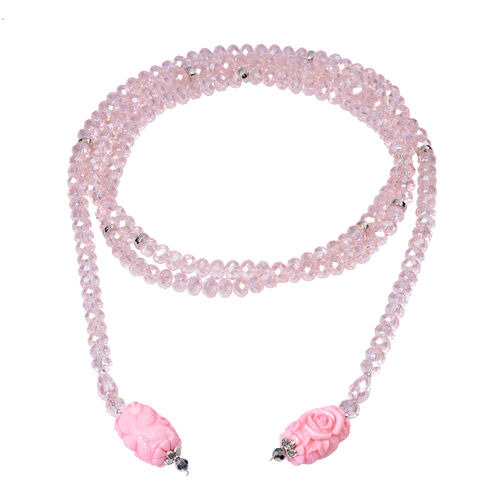 Pink Shell Pearl and Multi Gemstone Necklace (Size 60)