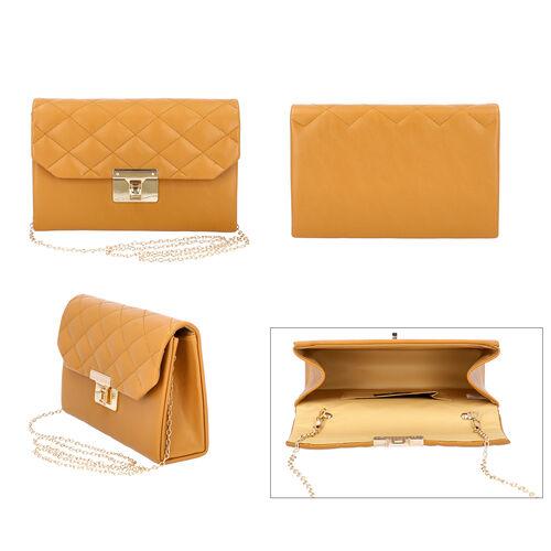 Tan Colour Crossbody Bag with Clasp Lock (Size 22x6.5x14 Cm)