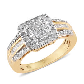 Diamond (Rnd and Bgt) Cluster Ring in 14K Gold Overlay Sterling Silver 0.500 Ct