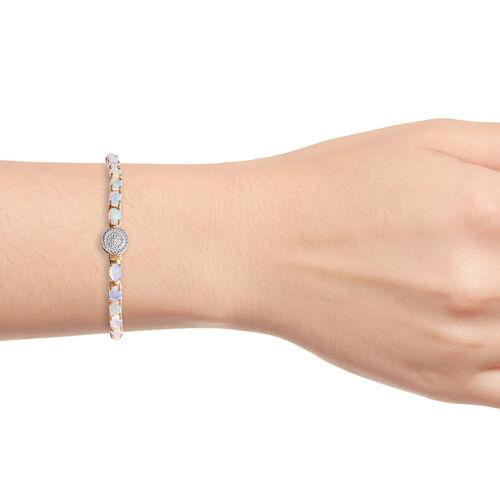 Wegeltena Ethiopian  Opal (Ovl), Diamond Bracelet (Size 8) in 14K Gold Overlay Sterling Silver 9.250 Ct, Silver wt 10.00 Gms