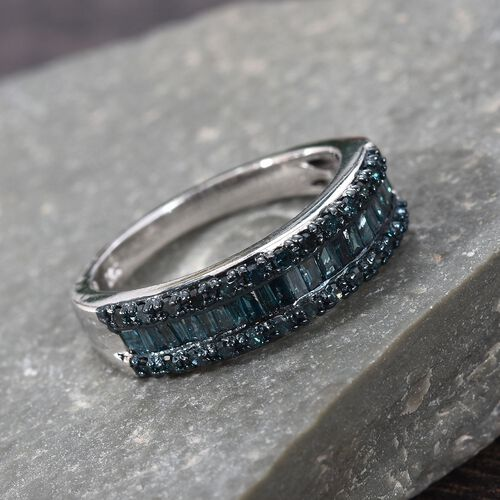 Blue Diamond (Rnd and Bgt) Ring in Platinum Overlay Sterling Silver 0.50 Ct.
