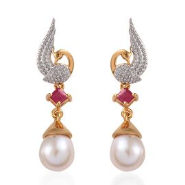 GP Freshwater Pearl, African Ruby and Blue Sapphire Peacock Earrings (with Push Back) in 14K Gold Ov