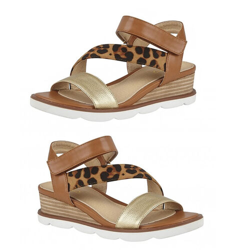 Lotus Tan & Leopard-Print Sophia Wedge Sandals (Size 4)