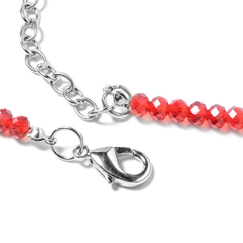 Murano Style Glass, Simulated Red Garnet and Simulated Mystic Glass Necklace (Size 28 and 2.5 inch Extender)