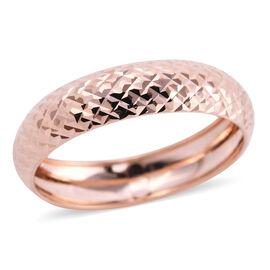 Royal Bali Collection - 9K Rose Gold Diamond Cut Band Ring