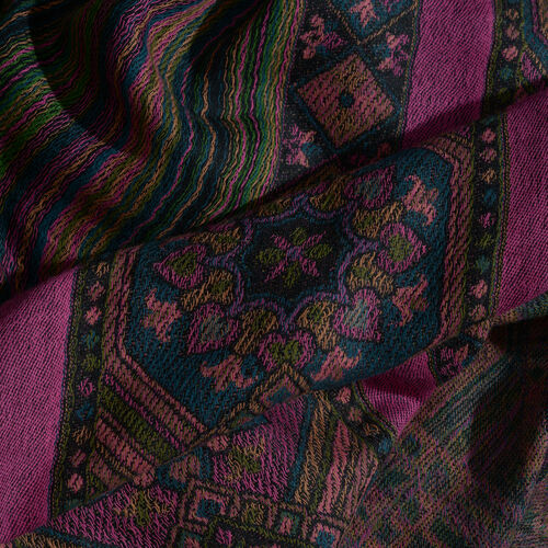 Merino Wool Blend Black, Fuchsia and Multi Colour Wavy Stripes Pattern Jacquard Scarf with Fringes (Size 200X70 Cm)