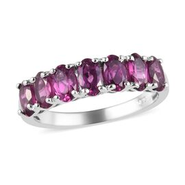 Rhodolite Garnet (Ovl) Seven Stone Ring in Platinum Overlay Sterling Silver 2.00 Ct.