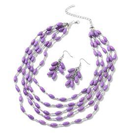 2 Piece Set - Purple Howlite (14x8 mm) Necklace (Size 20 with 2 inch Extender) and Hook Earrings in Black Oxidised with Stainless Steel 605.000 Ct.