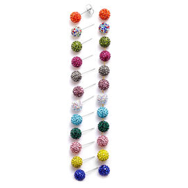 Set of 12 - Multi Colour Austrian Crystal Stud Earrings (with Push Back) in Stainless Steel
