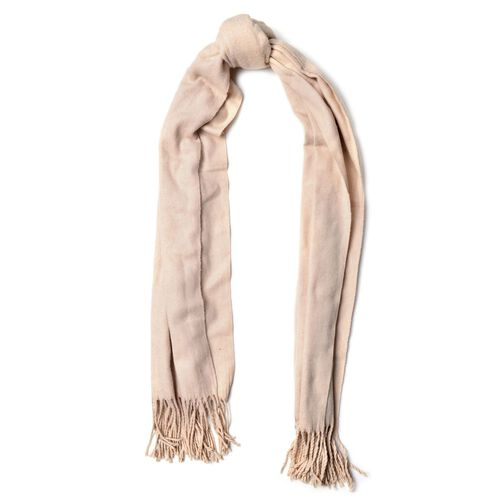 Cream Colour Scarf with Handcrafted Tassels (Size 180x70 Cm)