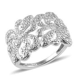 Diamond (Rnd) Fleur de Lis Ring in Platinum Overlay Sterling Silver
