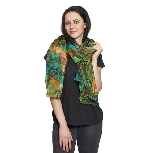 100% Mulberry Silk Green, Yellow and Multi Colour Water Stroke and Floral Hand Screen Printed Scarf