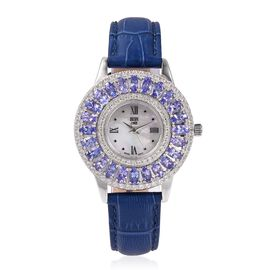 EON 1962 Swiss Movement Tanzanite (Ovl 5.52 Ct) and Natural White Cambodian Zircon Studded Water Resistant Watch in Sterling Silver and Stainless Steel, Silver wt 10.00 Gms.
