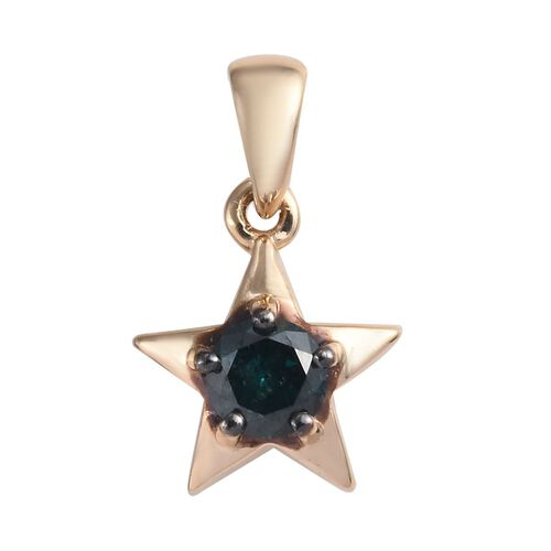 9K Yellow Gold Blue Diamond (Rnd) Star Pendant 0.25 Ct.