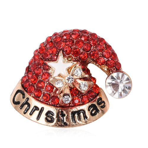 Christmas Special- Red and White Austrian Crystal Santa Hat Brooch Pendant in Gold Tone