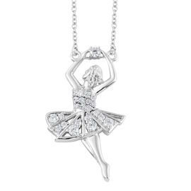 Simulated Diamond (Rnd) Ballerina Pendant With Chain (Size 20) in Platinum and Rhodium Plated.
