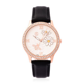 STRADA Japanese Movement White Austrian Crystal Studded Flower Bee Dial Water Resistant Watch with B