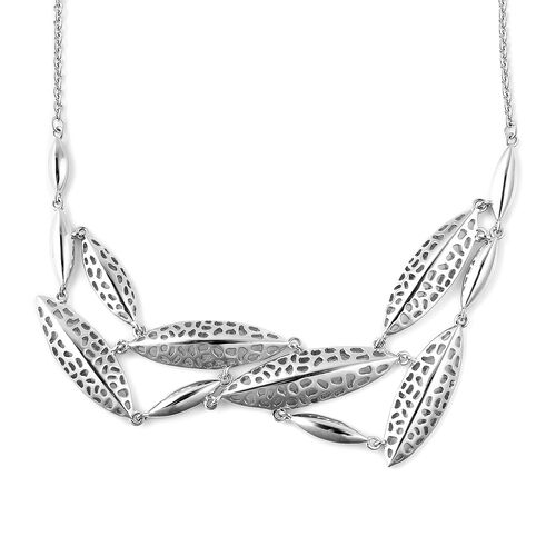 RACHEL GALLEY Leaf Collection - Rhodium Overlay Sterling Silver Lattice Leaf Necklace (Size 20), Silver wt 13.63 Gms