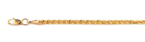 Italian Made Close Out- 9K Yellow Gold Fancy Double Curb Necklace (Size 22)