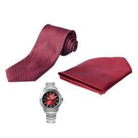 3 Piece Set - STRADA Japanese Movement Water Resistant Watch in Silver Tone and Garnet Red Dial, Sui