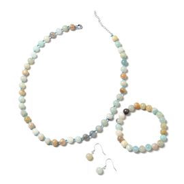 3 Piece Set - Russian Amazonite (Rnd) Beads Necklace (Size 18 with 2 inch Extender), Stretchable Bra