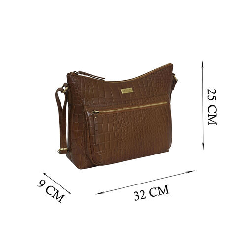 Assots London OLGA Croc Embossed Genuine Leather Crossbody Bag with Zipper Closure and Adjustable Strap (Size 30x9.5x26 Cm) - Tan