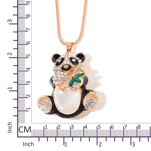 White Austrian Crystal Black and Green Colour Enameled Panda Pendant with Chain (Size 28) in Yellow Gold Plated